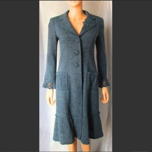 Nanette Lepore Blue/Gray Fit & Flare Dress Coat, S